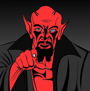 demonio rojo señalando de forma acusadora
