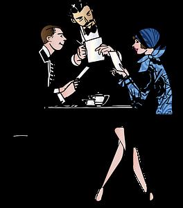 pareja en un restaurante siendo atendidos por un camarero