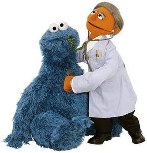 monstruo de las galletas diabetico en el medico